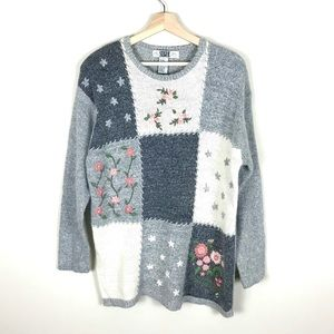 VINTAGE Silk/Angora Floral Embroidered Sweater - L